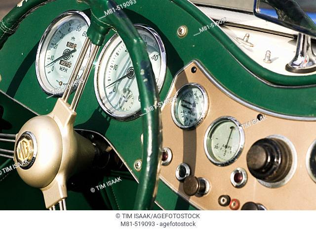 Dashboard detail of 1950's MG TD car. Oak Bay, British Columbia, Canada, 18 March 2006
