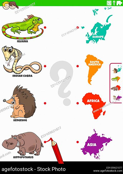 Cartoon illustration of educational matching game for children with animal species characters and continents