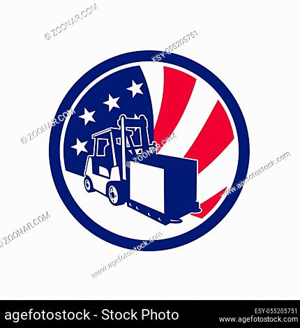 Icon retro style illustration of an American logistics operations with forklift truck and United States of America USA star spangled banner or stars and stripes...