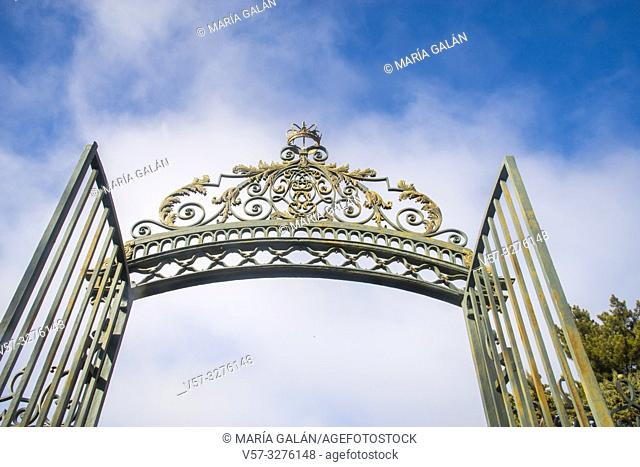 Open iron gate. San Ildefonso, Segovia province, Castilla Leon, Spain