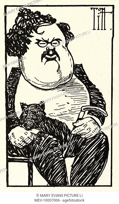 Cartoon of Gilbert Keith Chesterton, writer
