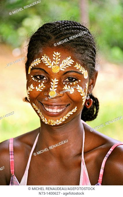 Madagascar, a region north and northwest island , Nosy Be, Woman in traditional makeup