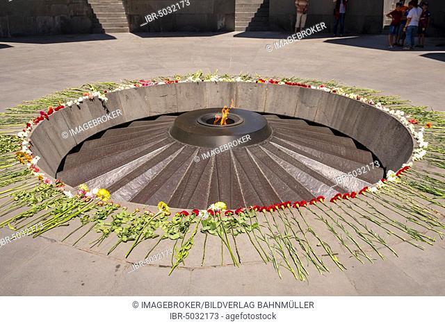 Eternal Flame, Genocide Memorial Zizernakaberd, Yerevan, Armenia, Asia