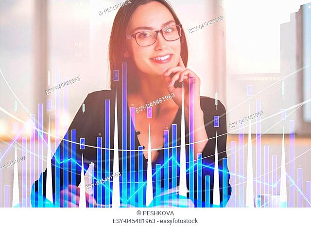 Portrait of smiling young european businesswoman with forex chart on blurry background. Analysis and trade concept. Double exposure