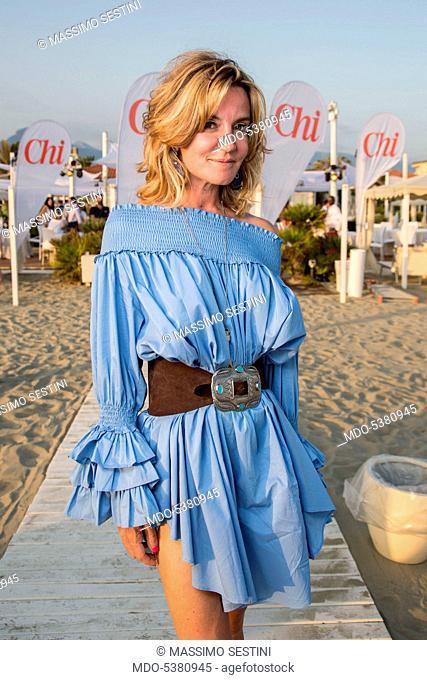 Patrizia D'Asburgo Lorena in the beach resort Ostras Beach during the event Chi Summer Tour. Marina di Pietrasanta, Italy. 24th June 2016