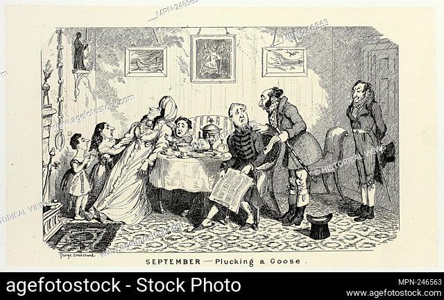September - Plucking a Goose from George Cruikshank's Steel Etchings to The Comic Almanacks: 1835-1853 - 1839, printed c