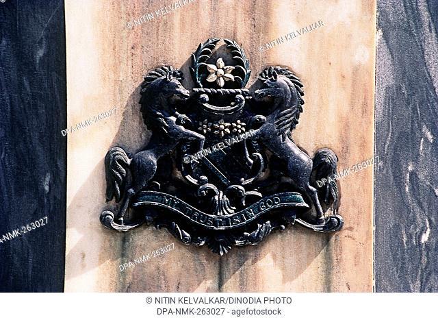 Close up of Emblem of Hyderabad, Andhra Pradesh, India, Asia