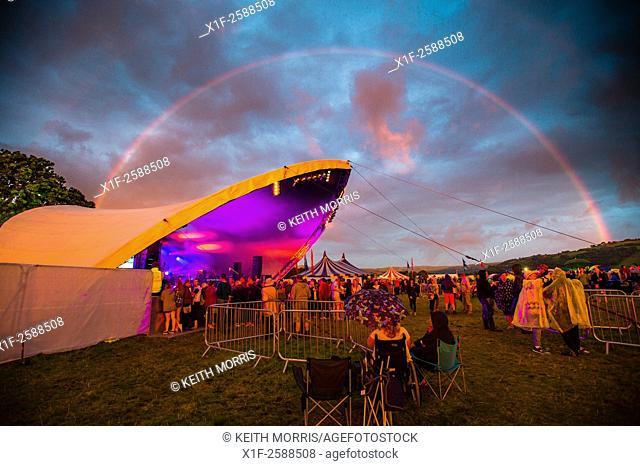 A colourful rainbow over the main stage at The Big Tribute Music festival, Aberystwyth, August Bank Holiday weekend, Summer 2015