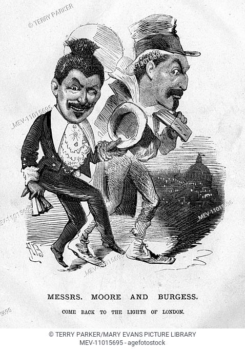 Caricature of George Washington Moore (1820-1909) and Frederick Burgess. They founded the Moore and Burgess Minstrels in 1871