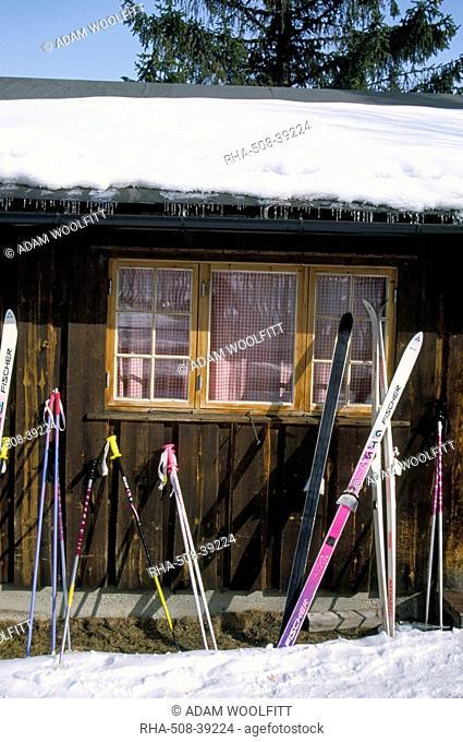Skis outside wooden building, Gola, Norway, Scandinavia, Europe