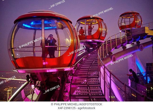 China, Guangdong province, Guangzhou or Canton, Zhujiang new city, TV Tower, Ferris Wheel