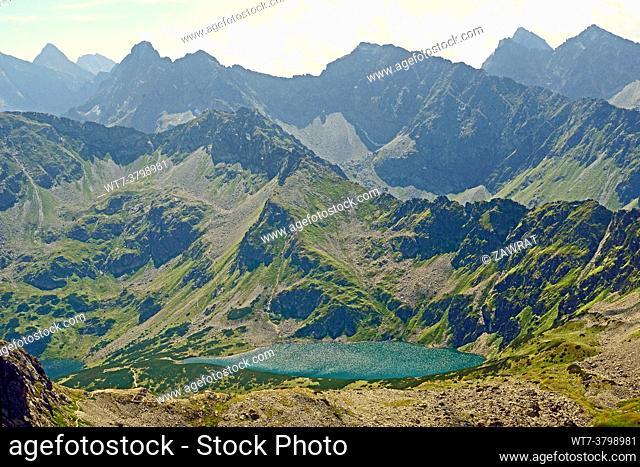 Blak Lake, the trail to Szpiglasowa Pass, Slovak Tatras, summer time, much Tatras peak