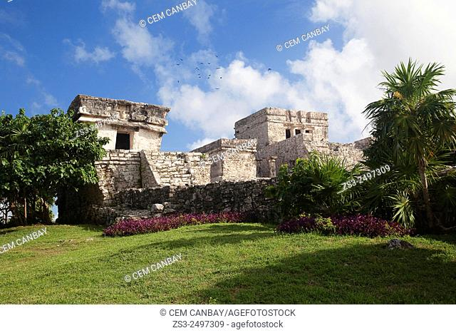 Palace-Stone Temple at Tulum Ruins, Quintana Roo, Yucatan Province, Mexico, Central America