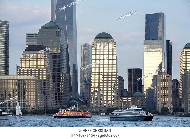 New York, USA, United States, America, Manhattan, Hudson, river, skyline, city, ferry, boat, one world trade center, world trade center, center