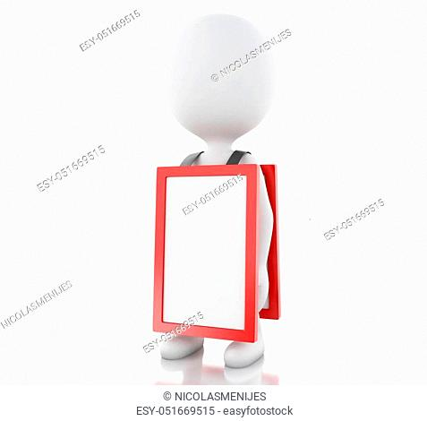 3d illustration. White people with empty signboard. Advertising concept. Isolated white background