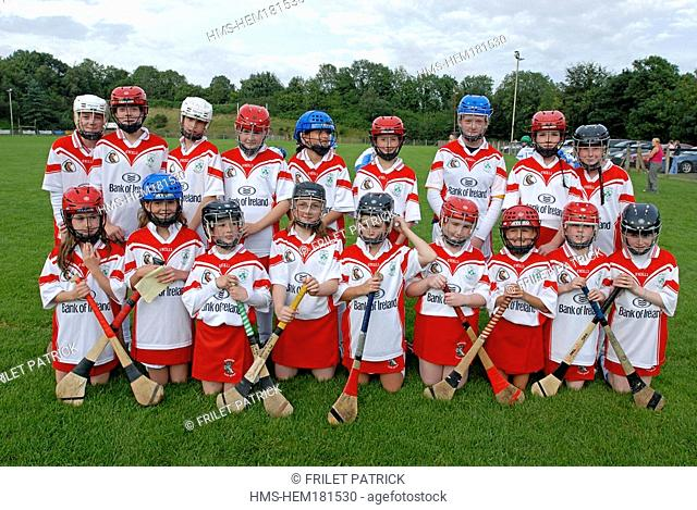 United Kingdom, Northern Ireland Ulster, County Antrim, Portglenone, under 12 team of the Shamrocks from Loughguile, before a camogie match