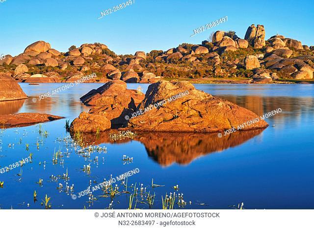Los Barruecos Natural Park. Sunset, Natural Monument, Malpartida de Caceres, Cáceres province, Spain