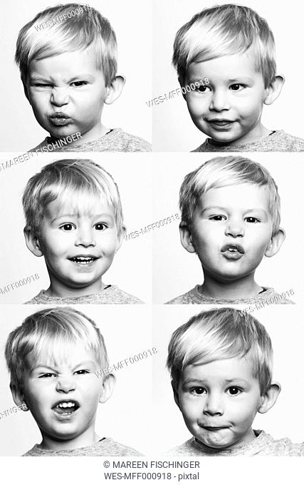 Six black and white portraits of little boy making a face