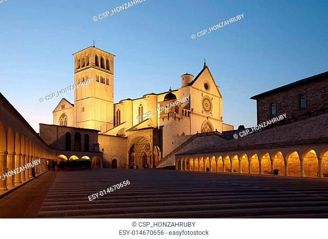 Basilica of St. Francis of Assisi at sunset, Italy