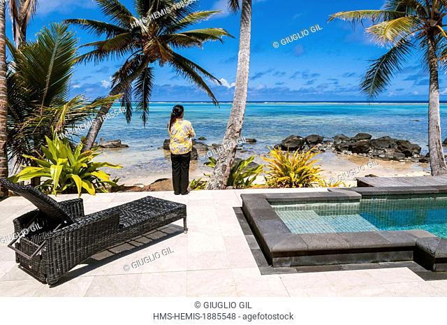 Cook Islands, Rarotonga Island, Te Manara resort hotel on Muri lagon
