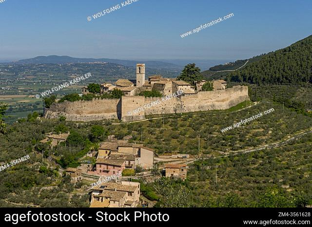View of the Castle of Campello in the province of Perugia in southeastern Umbria, Italy