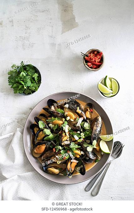 Mussels in yellow curry sauce (top view)