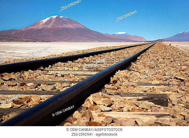 Railway line on Salar Uyuni salt desert, Bolivia, South America
