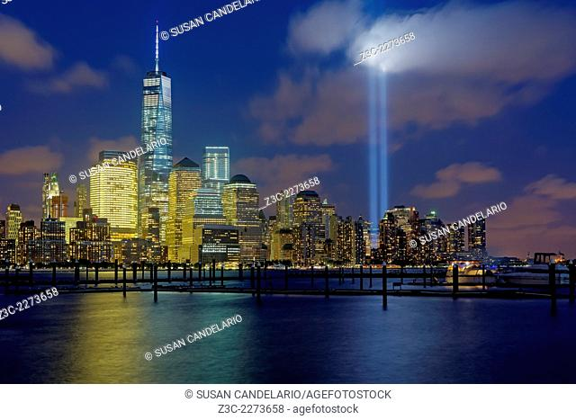 One World Trade Center commonly referred to as the Freedom Tower along with other skyscrapers in the Financial District and Battery Park Section along with the...