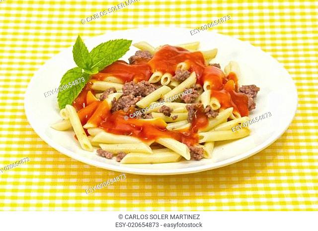 Traditional macaroni pasta with tomato