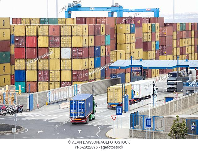 Shipping container terminal in Las Palmas port. Puerto de La Luz, Gran Canaria, Canary Islands. Spain