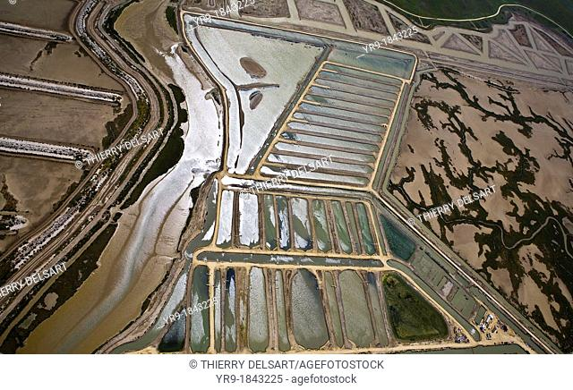 Marshes and salt lakes of Barbate de Franco Cádiz Spain Aerial view