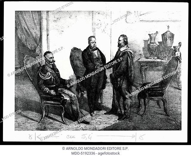 Giuseppe Garibaldi and Camillo Benso Count of Cavour Reconciling (Giuseppe Garibaldi si riconcilia con Camillo Benso conte di Cavour), 19th Century, engraving
