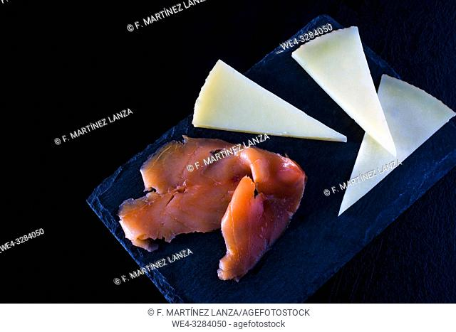 Smoked salmon and cheese