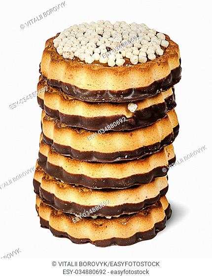 Stack chocolate cookies isolated on white background