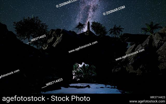 Astrophotography star trails over sandstone canyon walls