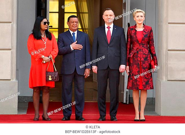 April 24, 2018 Warsaw, Poland. Presidential Couple welcoming Ethiopian Presidential Couple