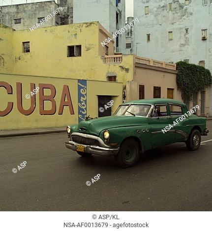 Antique car on a street, Havana, Cuba