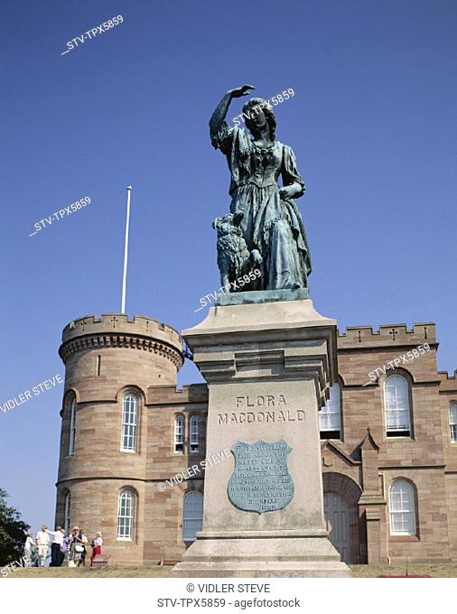 Castle, Flora macdonald, Holiday, Inverness, Landmark, Scotland, United Kingdom, Great Britain, Statue, Tourism, Travel, Vacatio