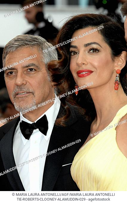 George Clooney with wife Amal Alamuddin during the red carpet of film Money monster at 69th Cannes Film Festival, Cannes, FRANCE-12-05-2016