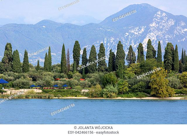 Lake Garda, the largest lake in Italy, situated on the edge of the Dolomites, Italy