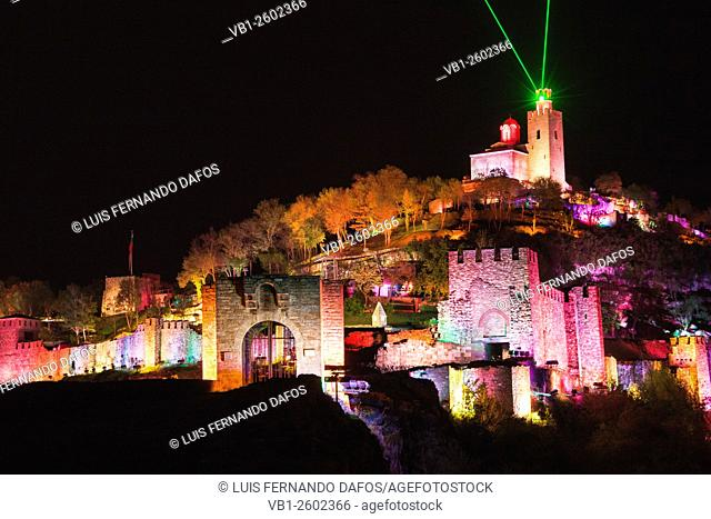 Floodlit Tsarevets fortress and laser light and sound show, Veliko Tarnovo, Bulgaria