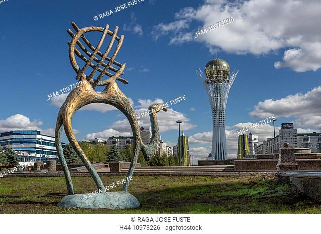Astana, Avenue, Bayterek, Boulevard, City, Kazakhstan, Central Asia, Monument, New City, Nurzhol, architecture, camel, flower carpet, no people, skyline, statue