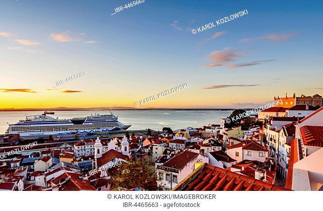 Alfama Neighbourhood, Tajo River, Miradouro das Portas do Sol, Lisbon, Portugal