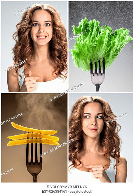 The collage of young beautiful woman with healthy and harmful meal. Detox diet and vegetarianism. The concept of choice
