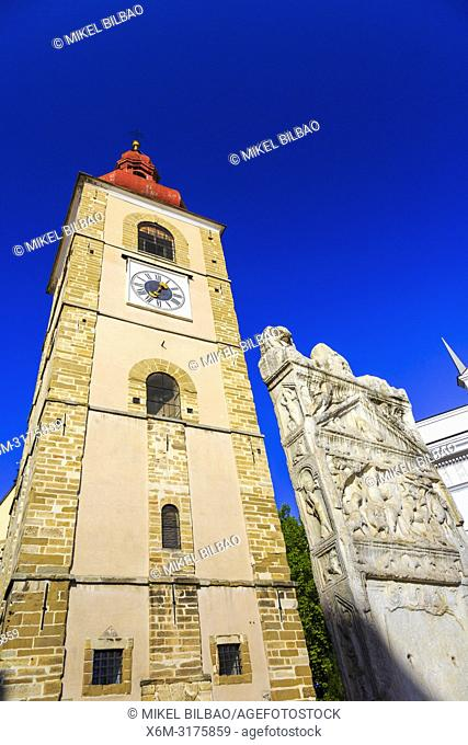 Town Tower and Orpheus Monument. Ptuj. Styria region. Slovenia, Europe