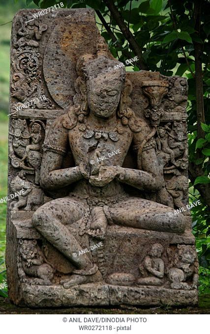 Ruined statue in heritage Buddha excavated site , Ratnagiri , Orissa , India