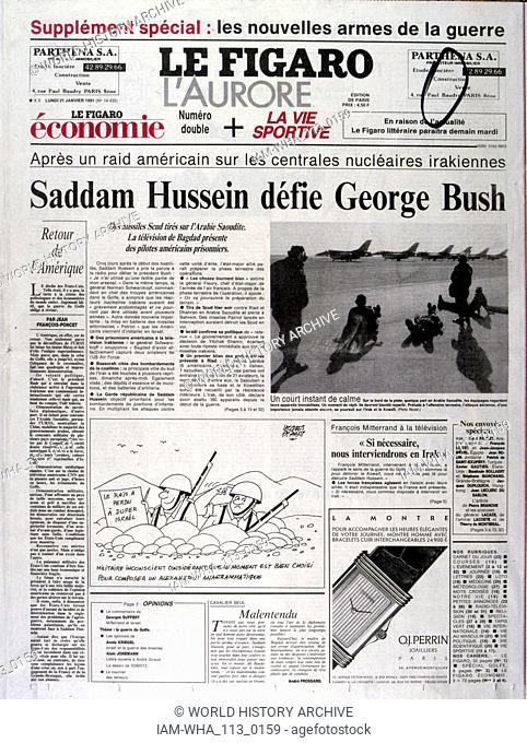 Headline in 'Le Figaro' a French newspaper, 21st January 1991, concerning escalating American action in the Gulf War (2 August 1990 - 28 February 1991)