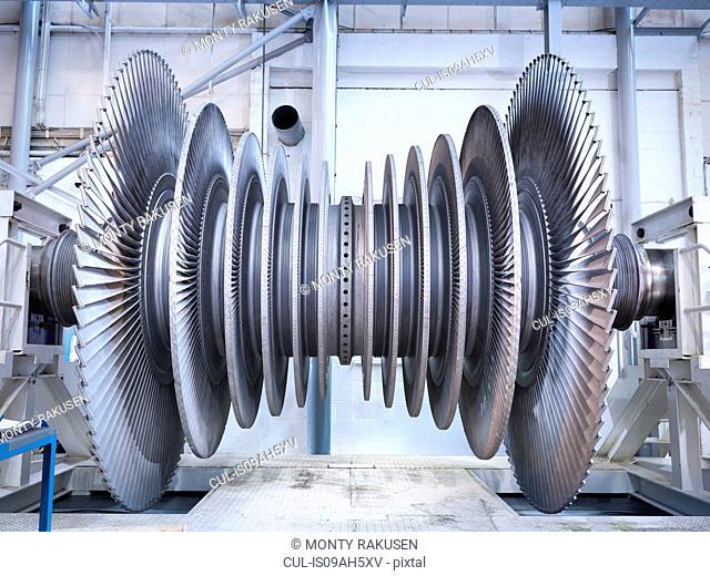Side view of low pressure steam turbine in repair bay