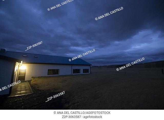 Twilight in a farm at Hvolsvöllur Iceland