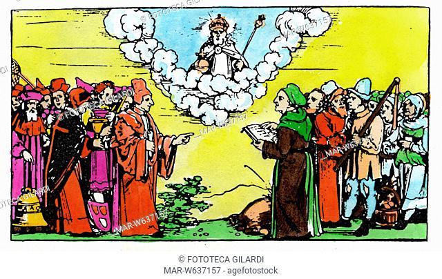 GUERRA DEI CONTADINI Nella stampa allegorica Lutero difende i contadini e i diseredati schierati di fronte ai potenti, ispirandosi a quanto scritto sulla Sacra...